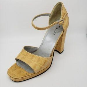 Vintage Bruno Magli Alligator Platform Sandals